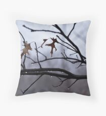 Winter Leaves with Water Drops Throw Pillow