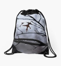 Winter Leaves with Water Drops Drawstring Bag