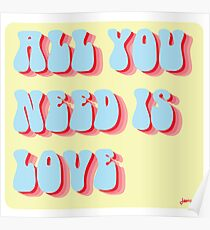 All You Need is Love Retro Poster