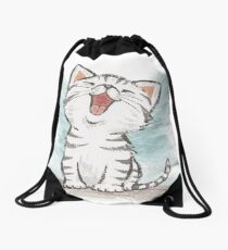 American Shorthair happy Drawstring Bag