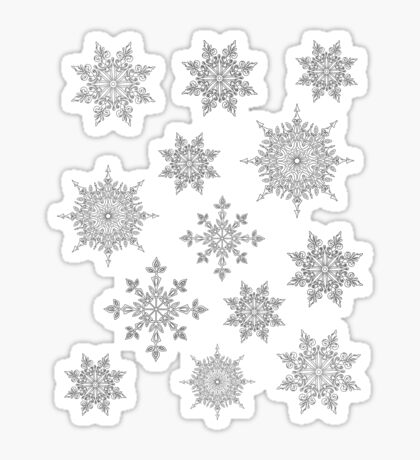 Holiday Snowflake Pattern on Blue Background Sticker