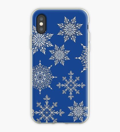 Holiday Snowflake Pattern on Blue Background iPhone Case