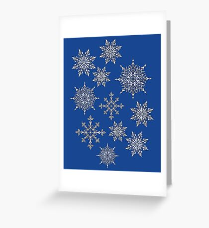 Holiday Snowflake Pattern on Blue Background Greeting Card