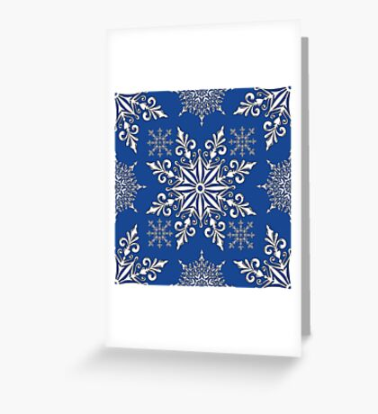 Holiday Snowflake Continuous Pattern #1 on Blue Background Greeting Card