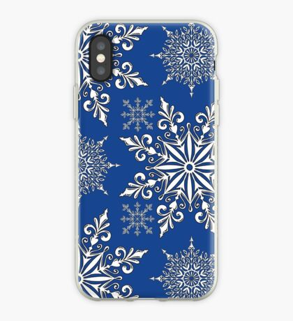 Holiday Snowflake Continuous Pattern #1 on Blue Background iPhone Case
