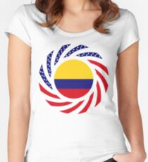 Colombian American Multinational Patriot Flag Series Fitted Scoop T-Shirt
