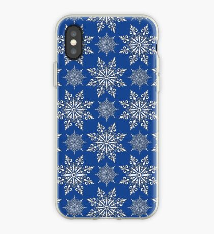 Holiday Snowflake Continuous Pattern #2 on Blue Background iPhone Case