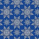 Holiday Snowflake Continuous Pattern #2 on Blue Background by LaRoach