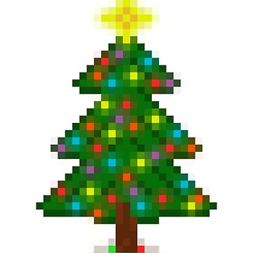 Pixel Christmas Tree with Glowing Lights (White) by gkillerb