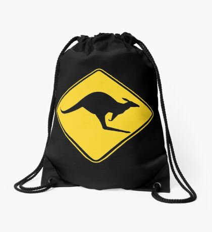 Caution Kangaroo - Black T Shirt Drawstring Bag