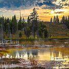 USA. Wyoming. Yellowstone National Park. Scenery. Sunset. by vadim19