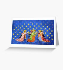 Gothic Angels with Starry Sky Greeting Card