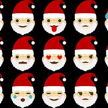 Santa Claus Emoji Shirt Xmas Smileys deco  by Rueb