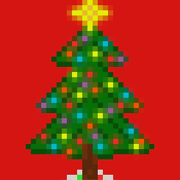Pixel Christmas Tree with Glowing Lights (Red) by gkillerb