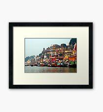 Dawn on the Ganges Ghats Varanasi, India Framed Print