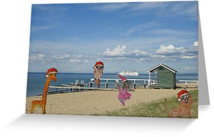 Christmas At The Beach Christmas Card Greeting Cards By Aby