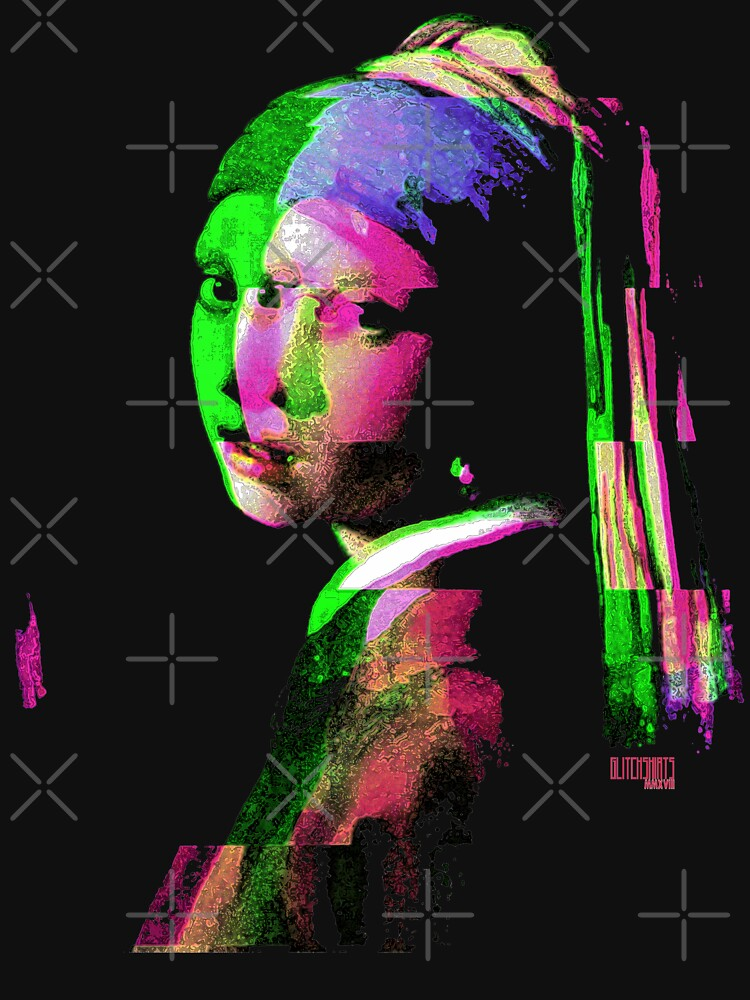 Girl With The Pearl Earring Glitch Art Digital Glitched Out by thespottydogg