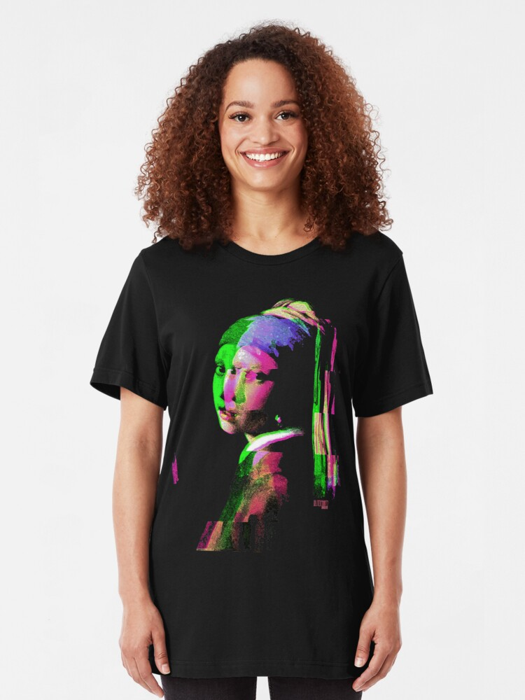 Alternate view of Girl With The Pearl Earring Glitch Art Digital Glitched Out Slim Fit T-Shirt