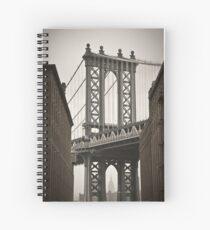 Empire State Building through arch of Manhattan Bridge Spiral Notebook