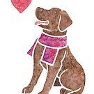 Watercolour Labrador Retriever (chocolate) by animalartbyjess