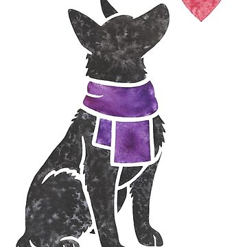 Watercolour German Shepherd (black) by animalartbyjess