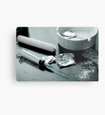 Drug abuse concept, Heroin shoot up tools and drugs and money Metal Print