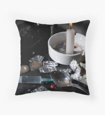 Drug abuse concept, Heroin shoot up tools and drugs and money Throw Pillow