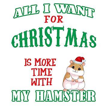 Funny Cute Hamster Pet Lovers Christmas Saying Tshirt Gift by techman516