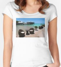 Infinity Luxury Swimming Pool in the Cayman Islands Women's Fitted Scoop T-Shirt