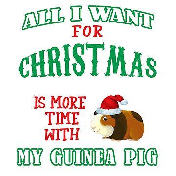 Funny Cute Guinea Pig Pet Lovers Christmas Saying Tshirt Gift by techman516