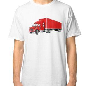 'Semi Truck Red Trailer Cartoon' Throw Pillow by Scott Hayes