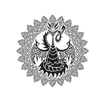 Zen Tattoo Dragon Meditating in Celtic Mandala by jitterfly