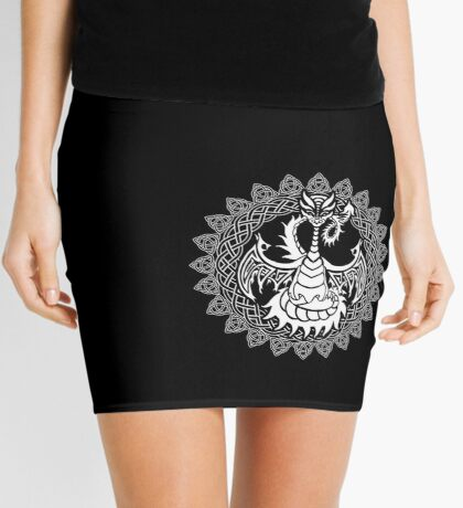 Zen Tattoo Dragon Meditating in Celtic Mandala Mini Skirt