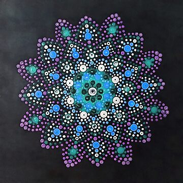 Icy Dot Mandala Snowflake Painting In Lilac Teal and Blue by taiche