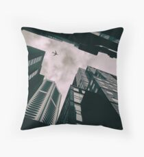 The Plane over the City Throw Pillow