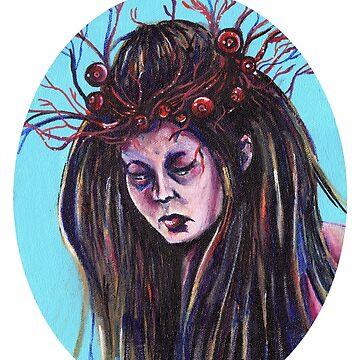 Untitled Lady with Eyeball Laurel by KLoganArt