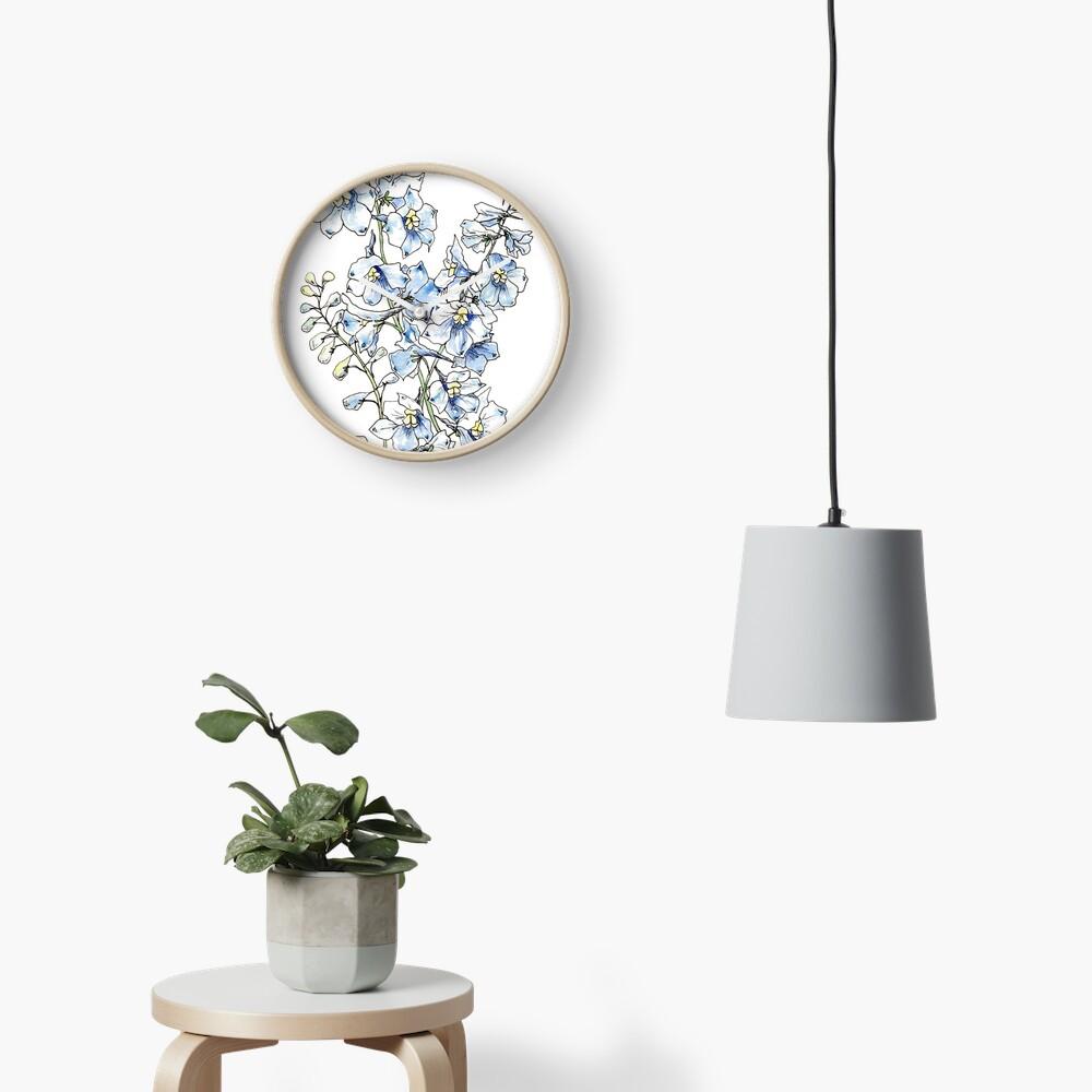 Blue Delphinium Flowers Clock