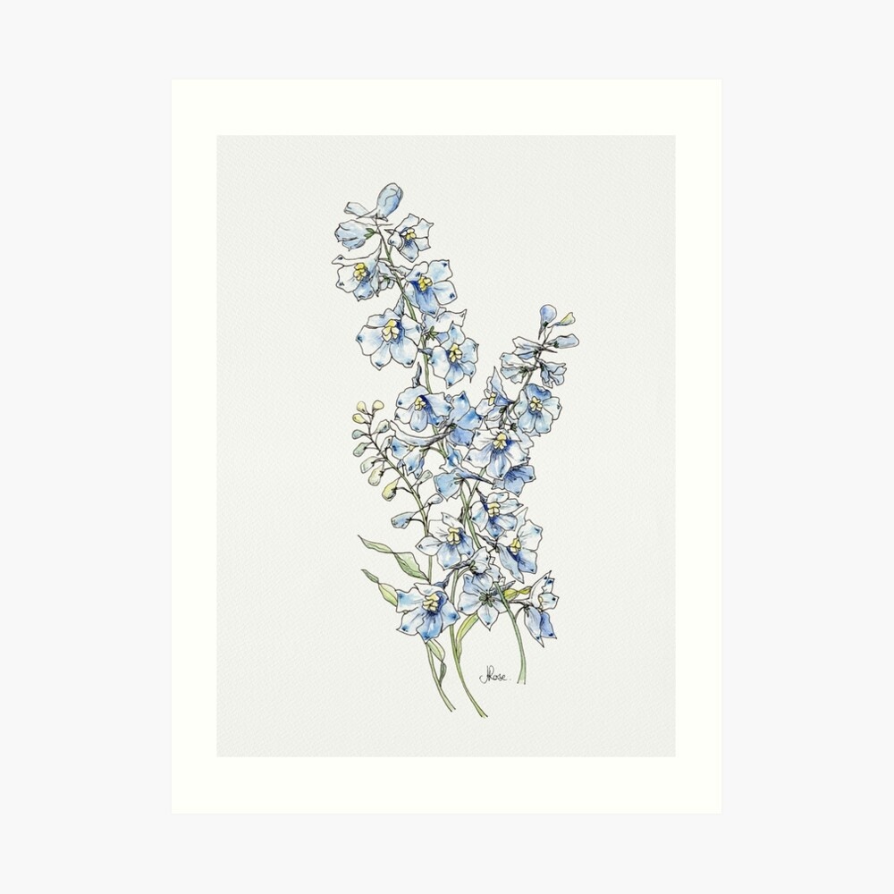 Blue Delphinium Flowers Art Print