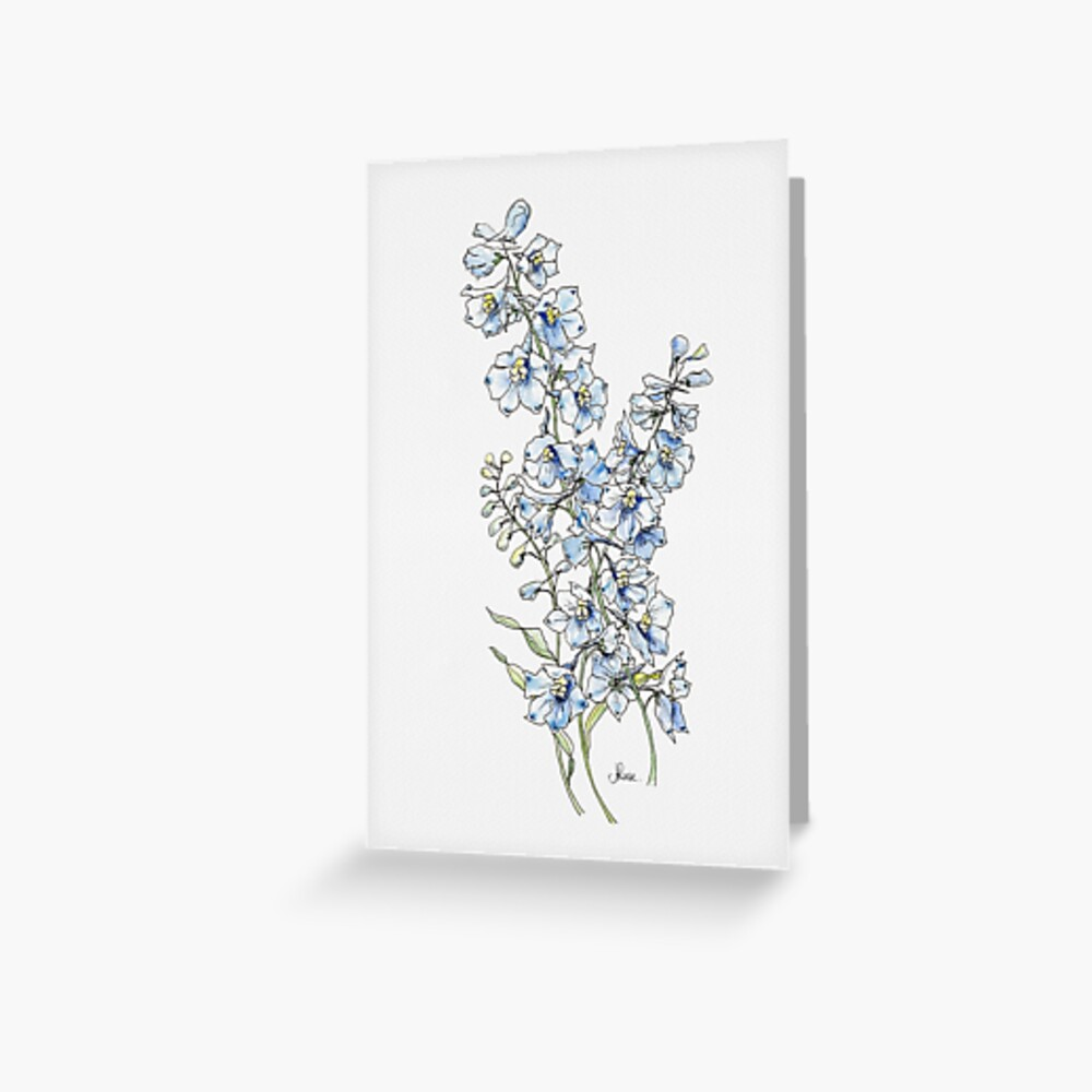 Blue Delphinium Flowers Greeting Card