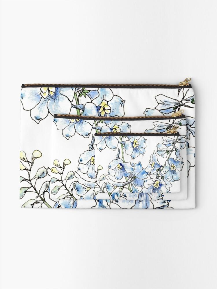 Alternate view of Blue Delphinium Flowers Zipper Pouch