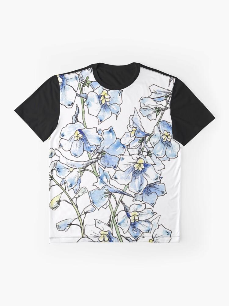 Alternate view of Blue Delphinium Flowers Graphic T-Shirt