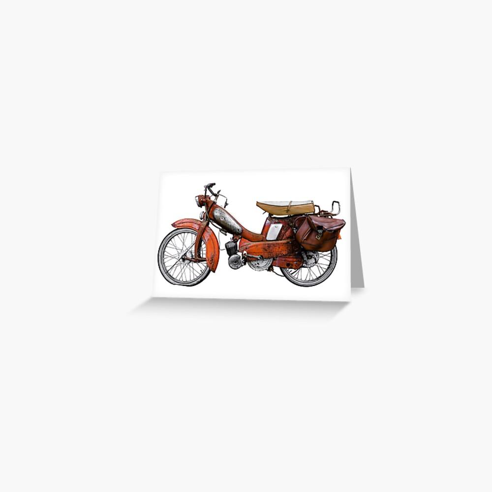 Vintage Französisch Motobecane Moped Grußkarte