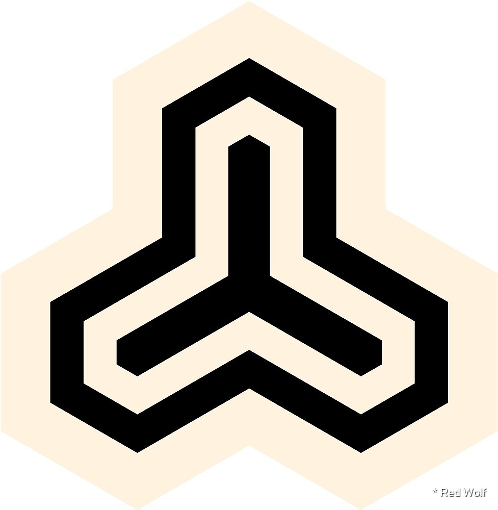 Geometric Pattern: Y Outline: Cream/Black by * Red Wolf