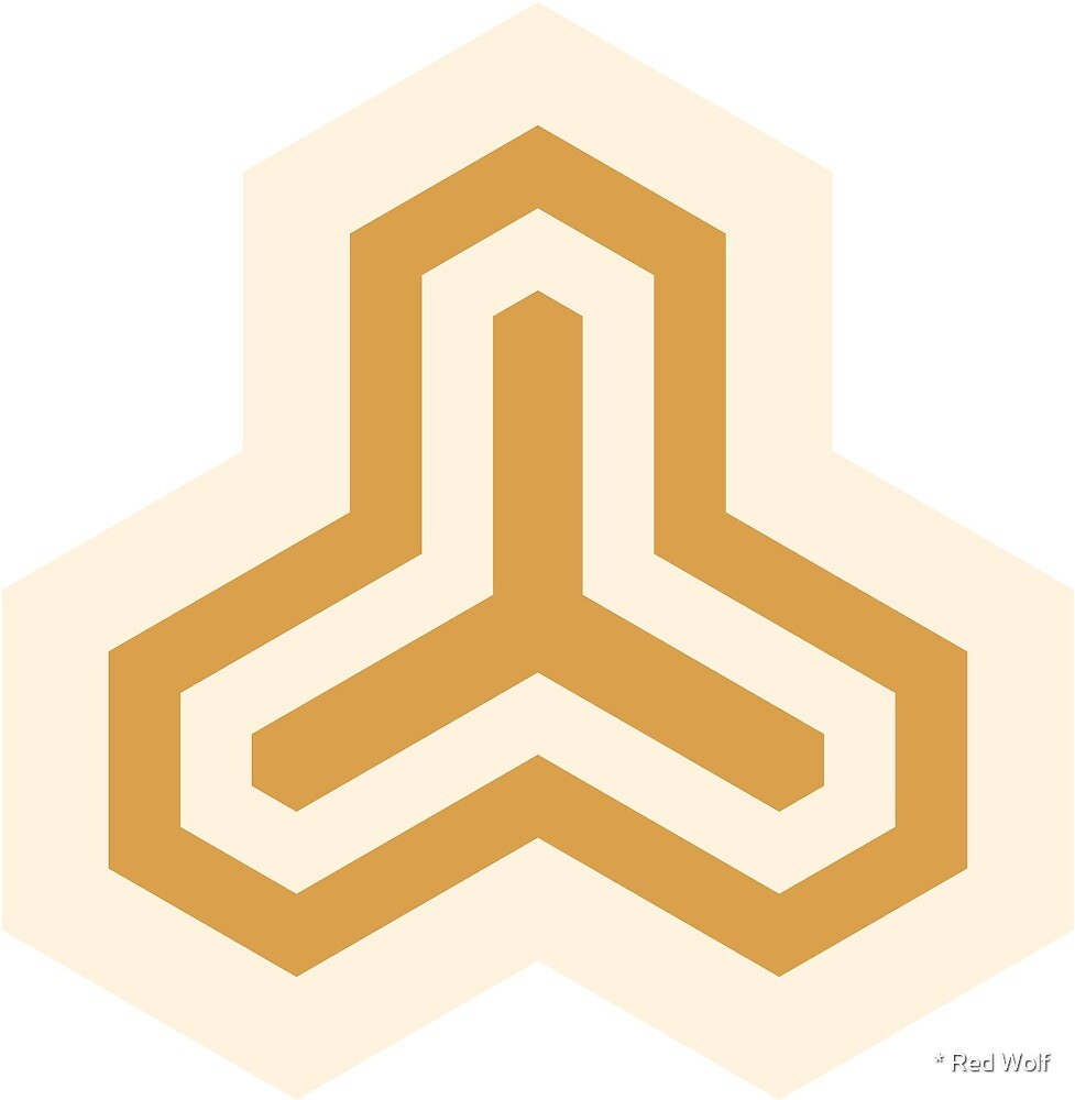 Geometric Pattern: Y Outline: Cream/Gold by * Red Wolf