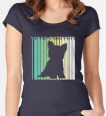 Cute Yorkshire Terrier Silhouette Women's Fitted Scoop T-Shirt