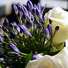 Agapanthus and roses in bouquet by sstarlightss