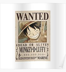 One Piece - Monkey D. Luffy Wanted Poster Design for Shirts, Cases, Cups and more! Poster