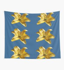 Yellow Garden Lily On Blue Background Wall Tapestry