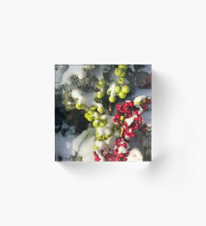 Winter Berries (Banff, Canada) Acrylic Block