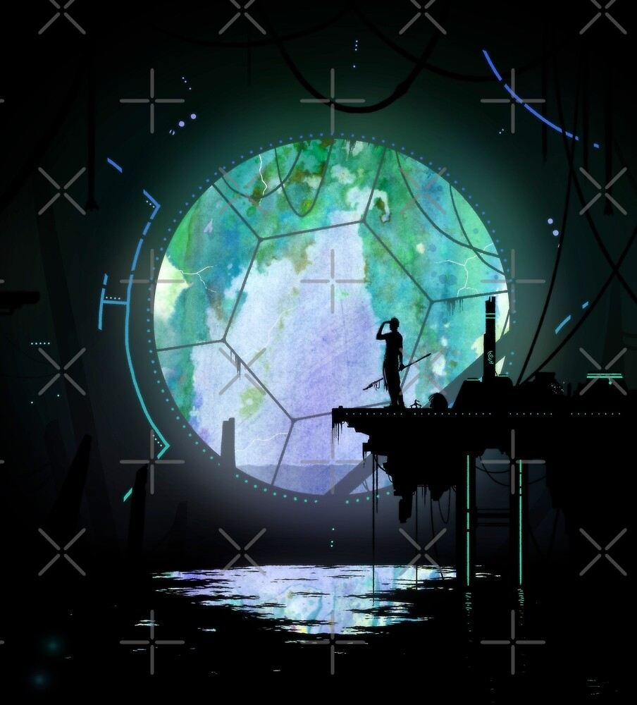 Science fiction fantasy artwork - Ruins under water - Watercolor digital illustration by zachholmbergart